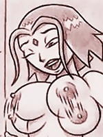Starfire examine Raven's sexy body in sketched comics
